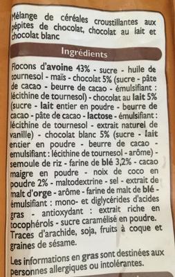 Muesli croustillant aux 3 chocolats - Ingrédients - fr