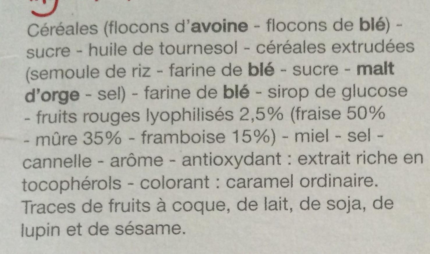 Muesli croustillant Fruit rouge - Ingredients - fr
