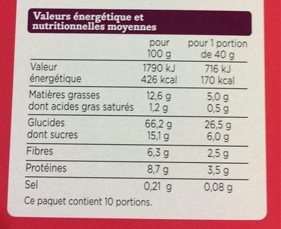Muesli croustillant Fruit rouge - Nutrition facts - fr