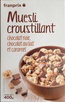 Mueslis croustillant chocolat noir, chocolat au lait et caramel - Produit