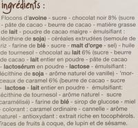 Mueslis croustillant chocolat noir, chocolat au lait et caramel - Ingrédients