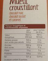 Mueslis croustillant chocolat noir, chocolat au lait et caramel - Informations nutritionnelles