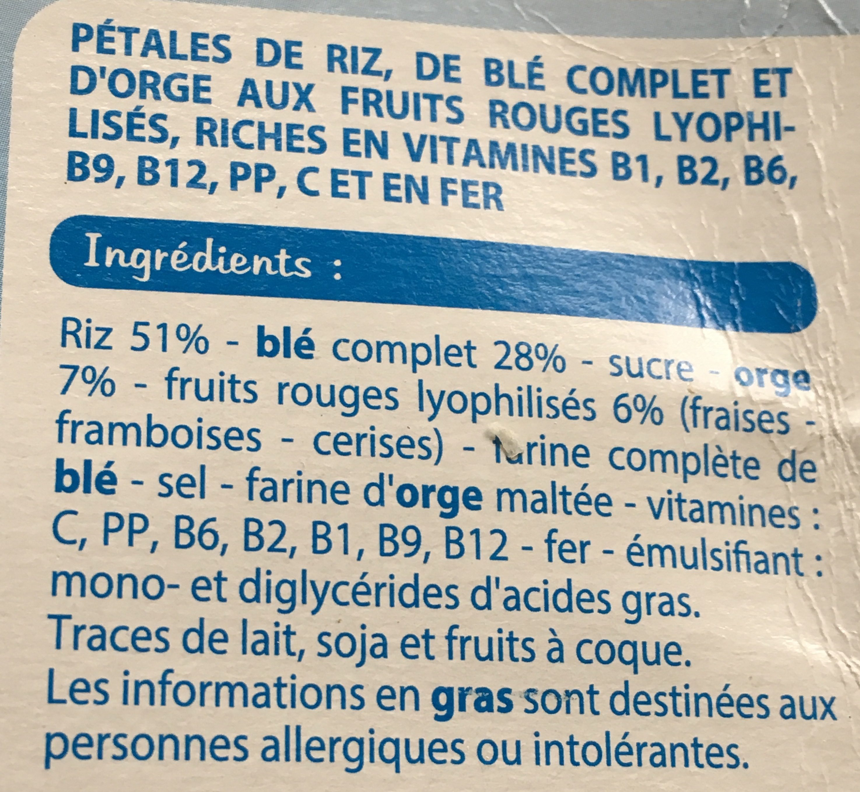 Riz et blé complet fruits rouges - Ingredients - fr