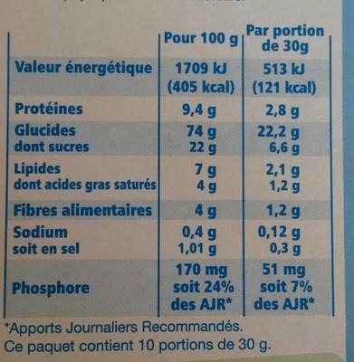 Riz et blé complet chocolat - Fine ligne - Valori nutrizionali - fr