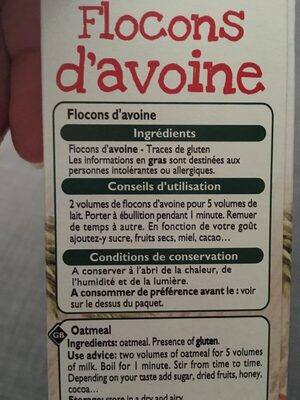 Flocons d'avoine - Ingrediënten - fr