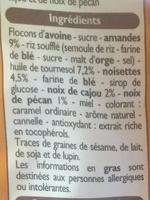 Muesli croustillant, amande, noisette, noix de cajou et noix de pécan - Ingrédients
