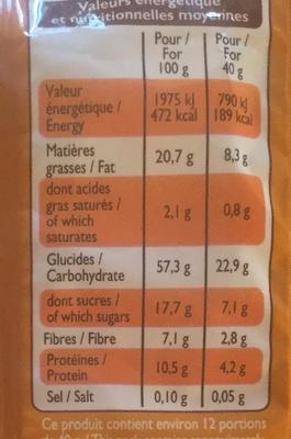 Muesli croustillant, amande, noisette, noix de cajou et noix de pécan - Informations nutritionnelles