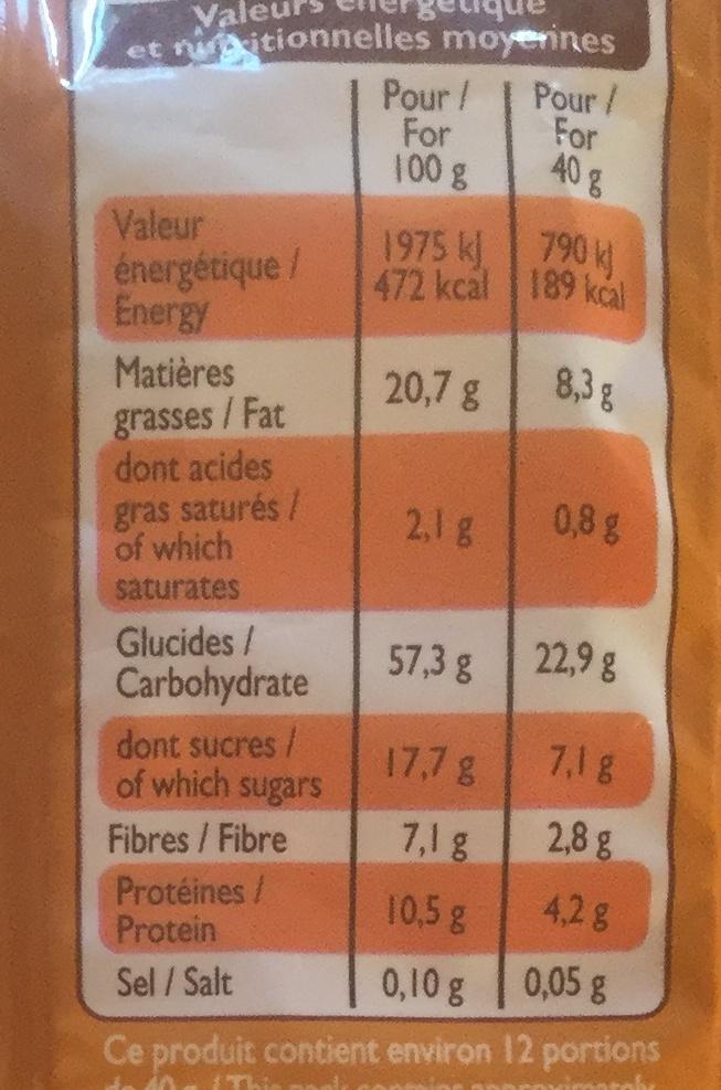 Muesli croustillant, amande, noisette, noix de cajou et noix de pécan - Nutrition facts