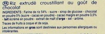 Riz Soufflé Goût Chocolat - Ingredients