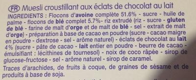 Muesli Croustillant aux Éclats de Chocolat au Lait - Ingrédients - fr