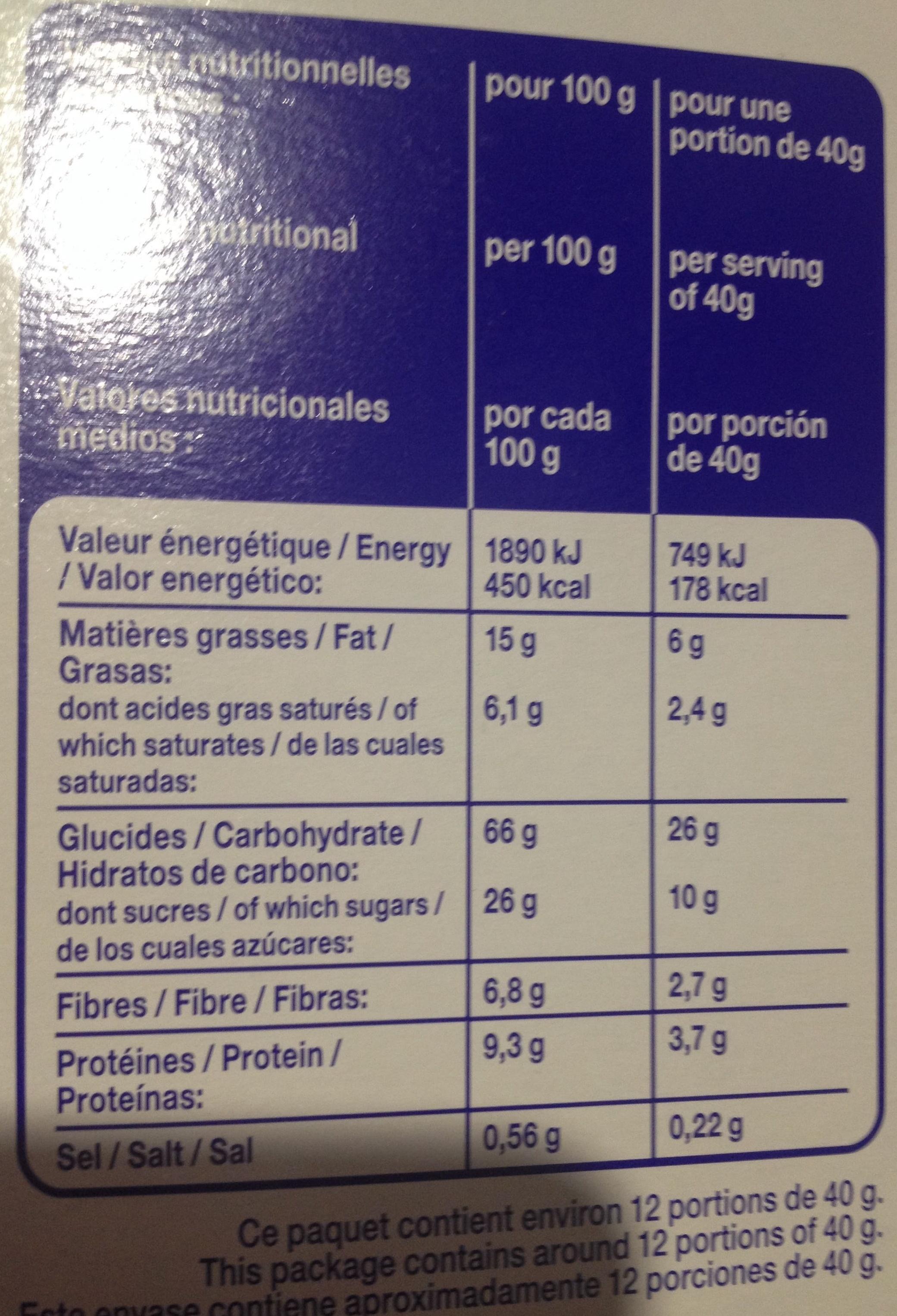 Muesli Croustillant aux Éclats de Chocolat au Lait - Informations nutritionnelles - fr