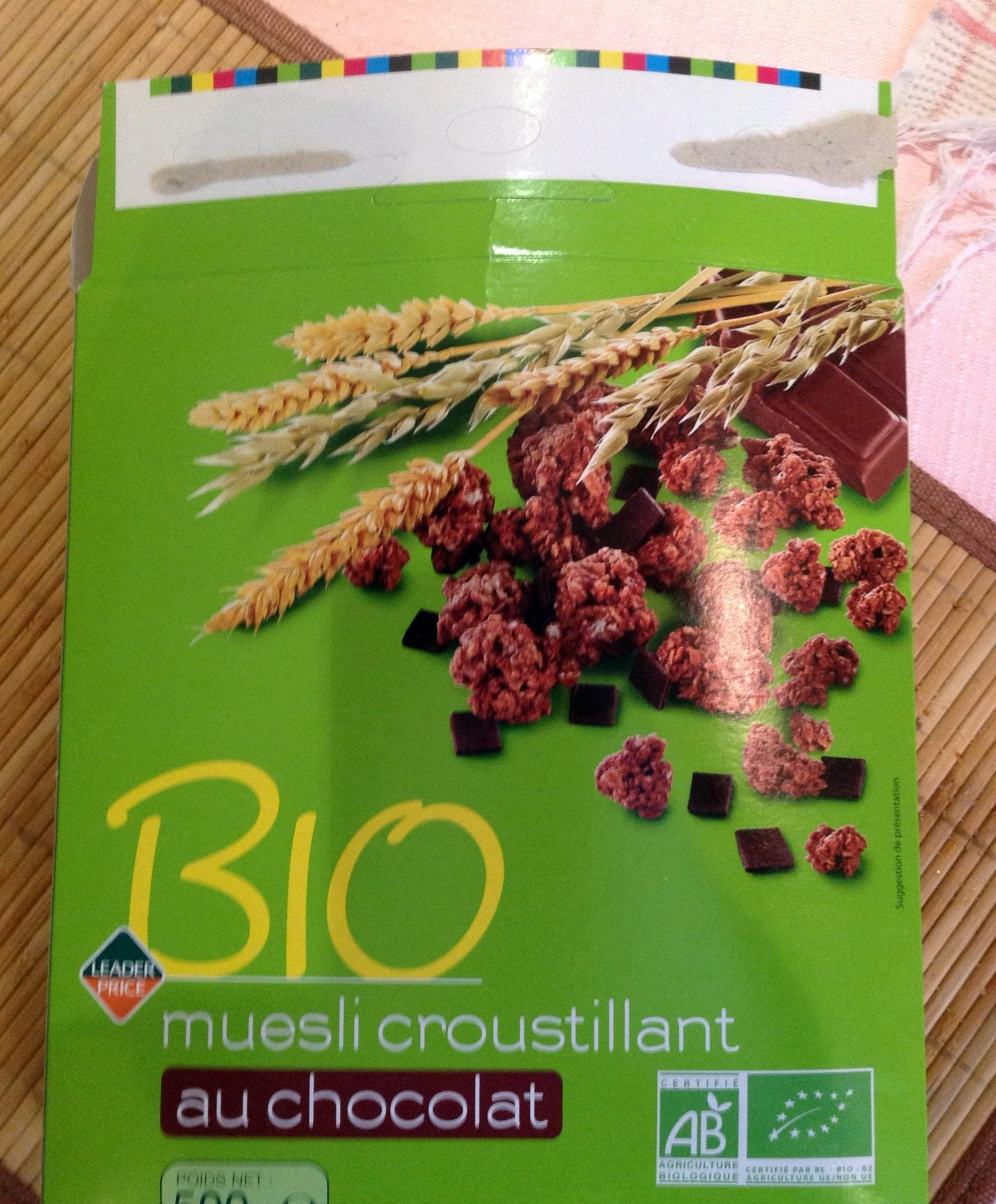 bio muesli croustillant au chocolat leader price 500 g e. Black Bedroom Furniture Sets. Home Design Ideas