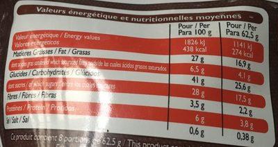 Moelleux au Chocolat avec Pépites - Nutrition facts - fr