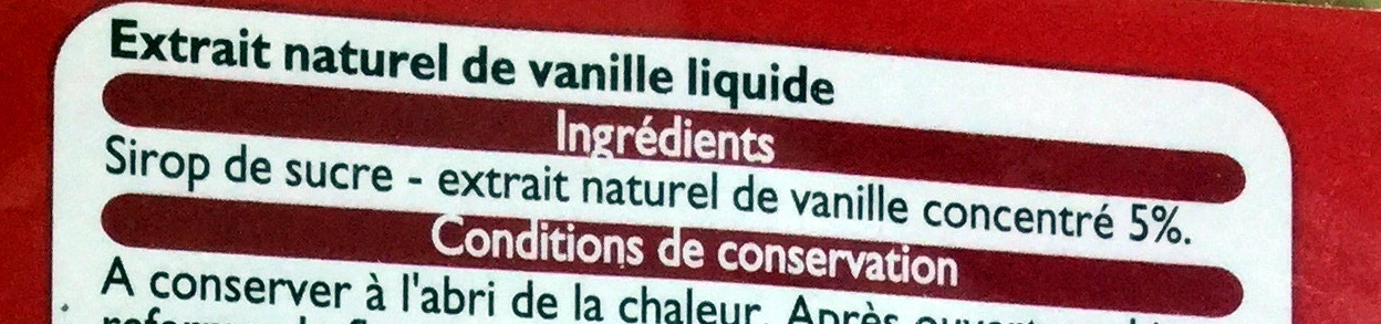 Extrait naturel de vanille - Ingredients - fr