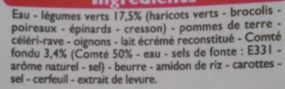 Les veloutés légumes vert & comté fondu - Ingredients - fr