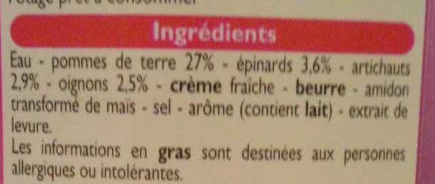 Velouté Épinards & Artichauts - Ingredienti - fr