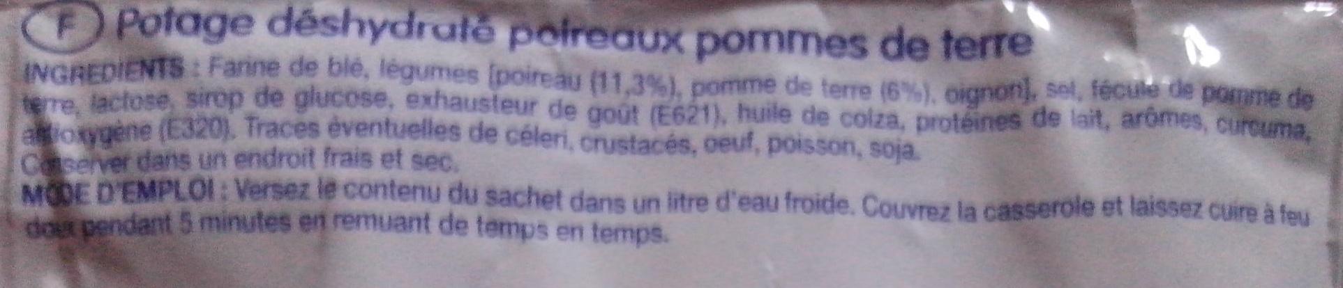 Potage poireaux pommes de terre - Ingrediënten
