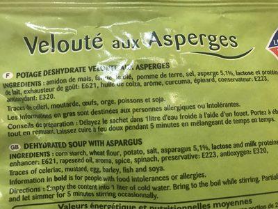 Velouté aux asperges - Ingrediënten