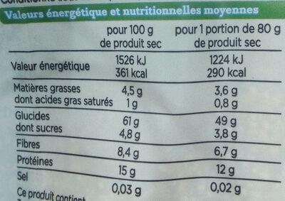 Mélange riz complet et graines Incas - Nutrition facts