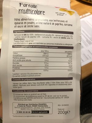 Farfalle - Informations nutritionnelles - fr