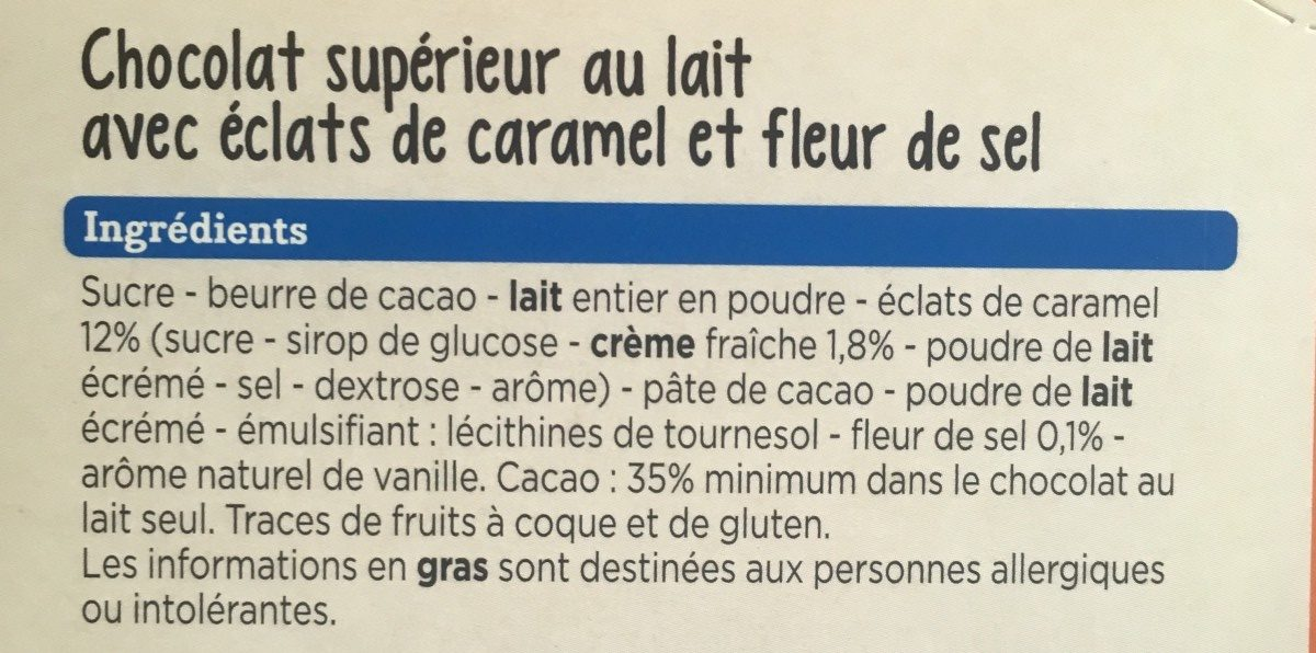 Dégustation Lait Caramel et Fleur de sel - Ingrediënten