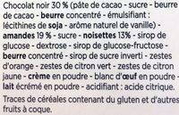 Florentins Chocolat Noir - Ingrédients