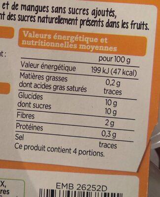 Compote pomme ananas mangue - Nährwertangaben - fr