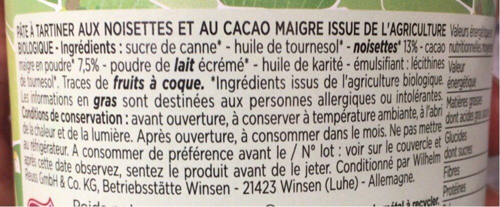 Pate a tartiner bio - Informations nutritionnelles - fr
