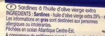 Sardines à l'huile d'olive - Ingrédients