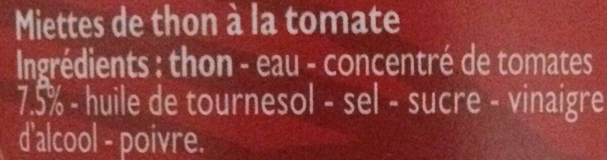 Miettes de Thon à la Tomate - Ingrédients - fr