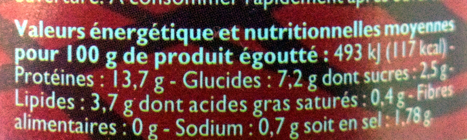 Miettes de Thon à la Tomate - Informations nutritionnelles - fr