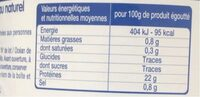Morceaux de thon au naturel - Nutrition facts - fr