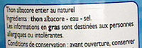Thon (Albacore) au Naturel - Ingrédients - fr