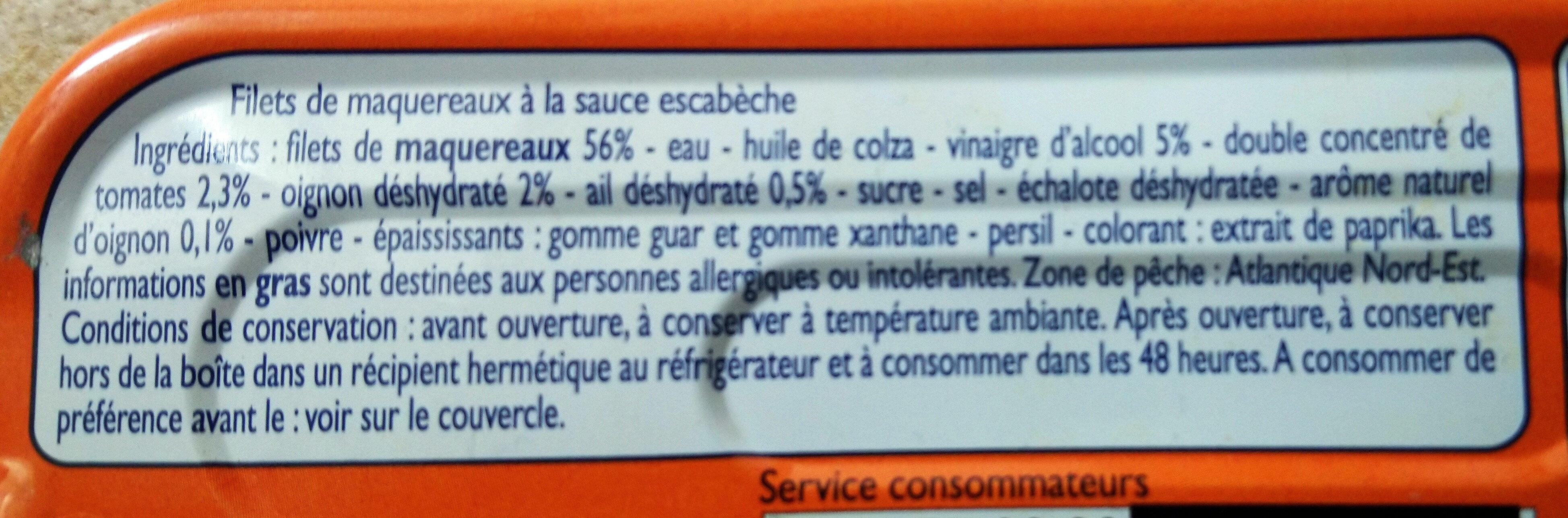 Filets de Maquereaux Sauce Escabèche - Ingrédients - fr