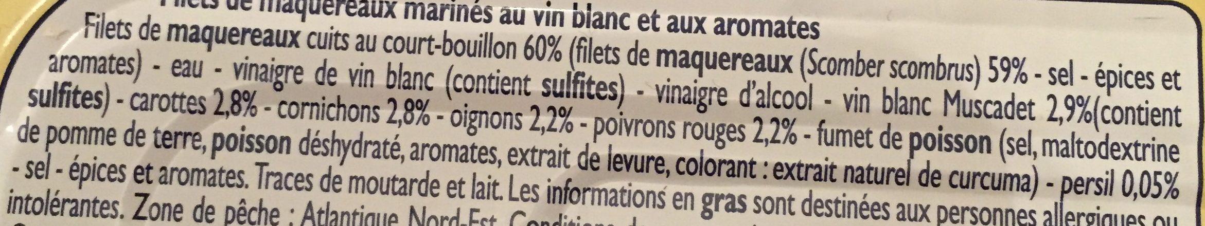 Filets de Maquereaux Marinés au Vin Blanc et aux Aromates - Ingrédients - fr