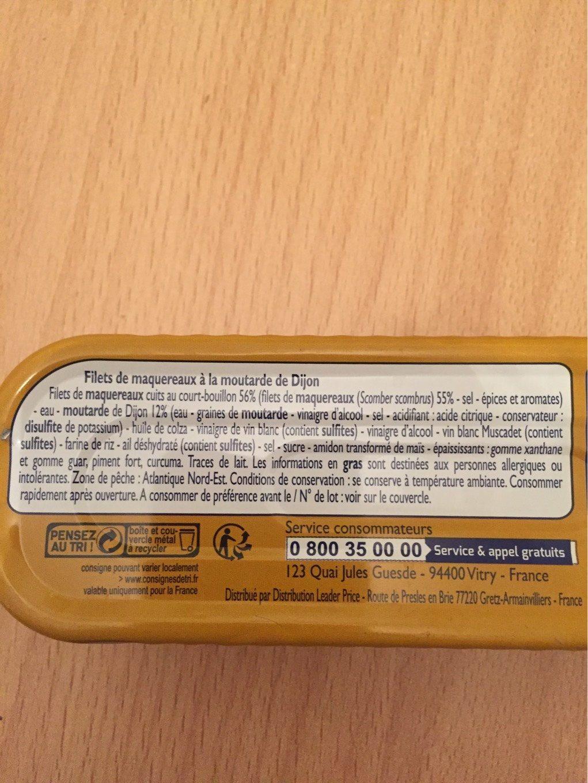 Filets de Maquereaux (à la Moutarde de Dijon) - Informations nutritionnelles - fr