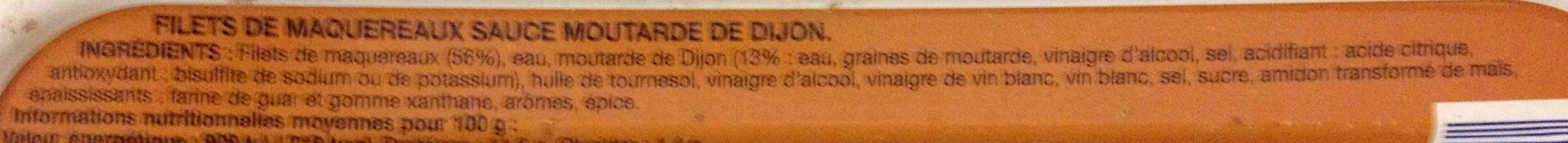 Filets de Maquereaux (Sauce Moutarde de Dijon) - Ingrediënten - fr