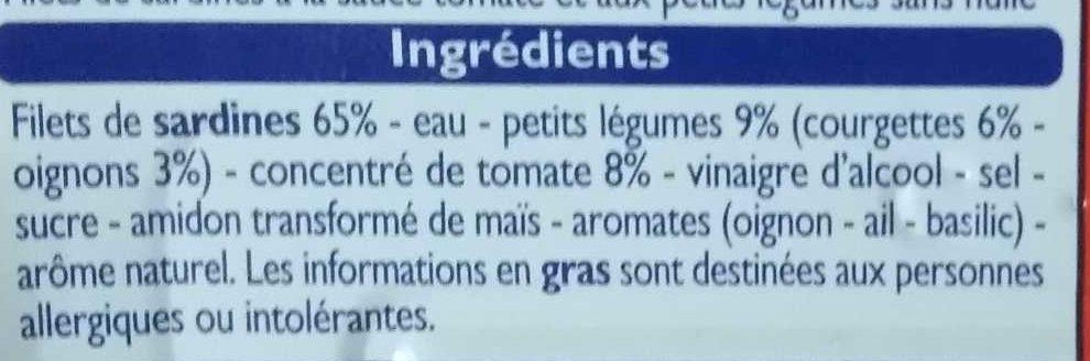Filets de Sardines à la Tomate - Ingredients - fr