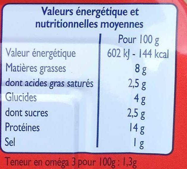 Filets de Sardines à la Tomate - Nutrition facts - fr