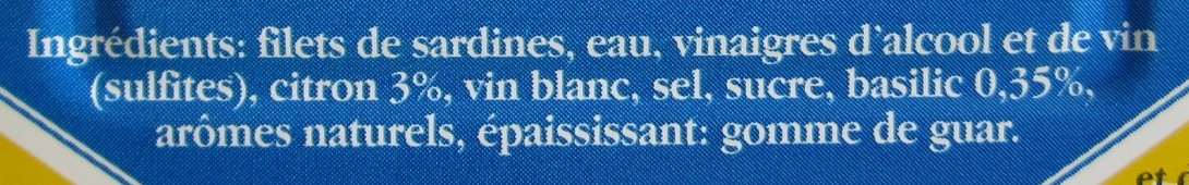 Filets de Sardines (Citron Basilic) - Ingredients - fr