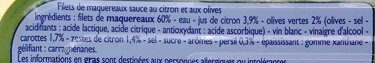 Filets de maquereaux citron olives - Ingrédients
