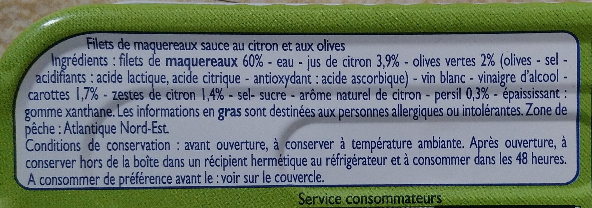 Filets de maquereaux citron olives - Ingrédients - fr