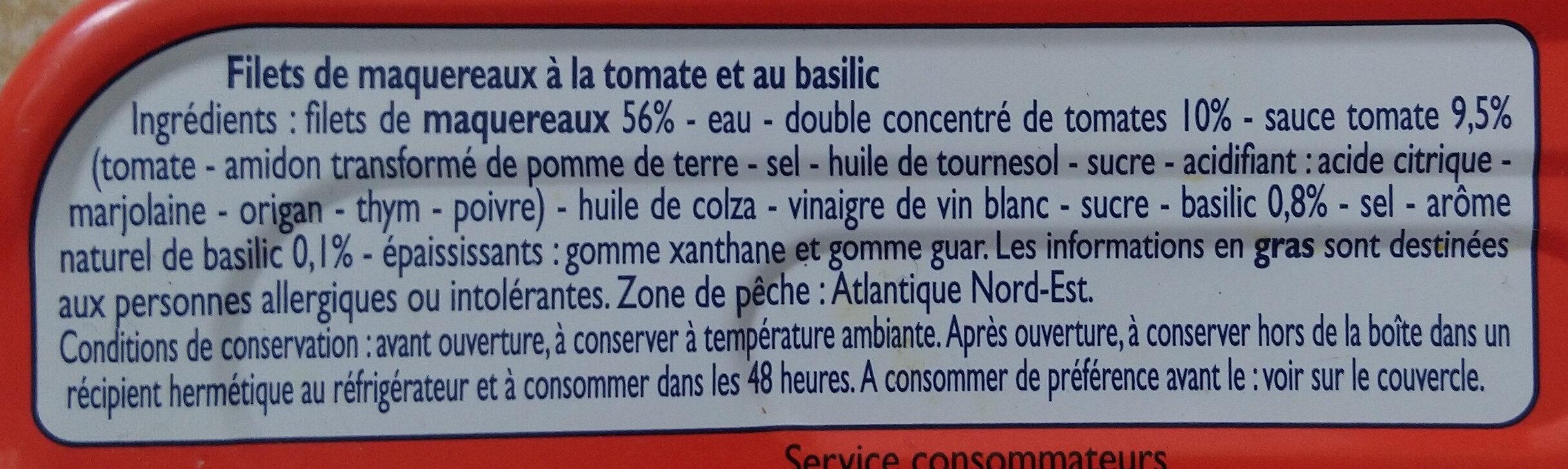 Filets de Maquereaux à la Tomate et au Basilic - Ingrédients - fr