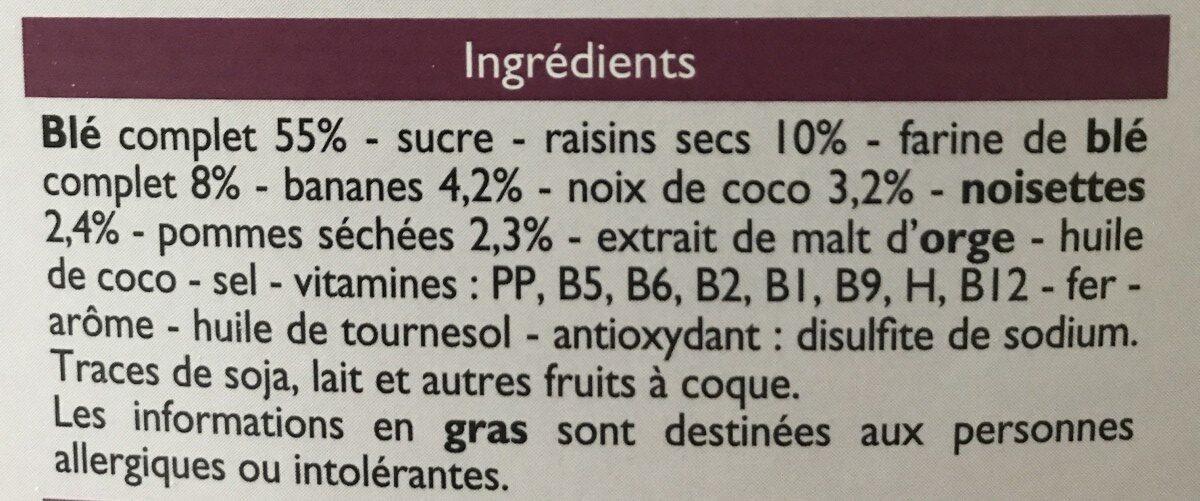 Fruits & fibres - Blé complet et fruits secs - Ingrédients - fr