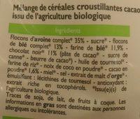 Muesli croustillant au chocolat - Ingrédients - fr