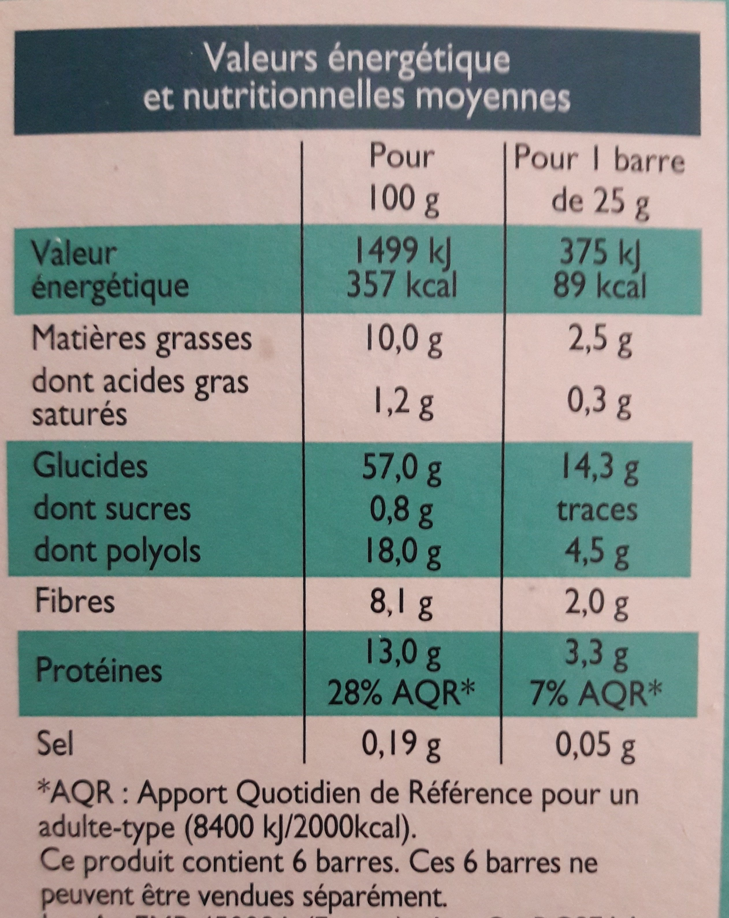 Barres Son d'avoine & Amandes - Voedingswaarden - fr