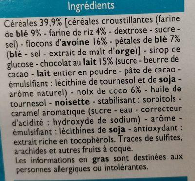 Barres céréalières chocolat au lait noix de coco - Ingrediënten - fr