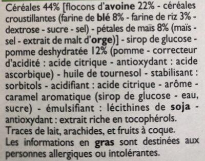 Barre cerealieres Pomme - Ingrédients - fr