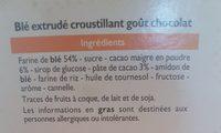 Pétale de Blé goût chocolat - Ingrediënten