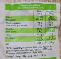 Muesli floconneux nature aux graines - Informations nutritionnelles - fr